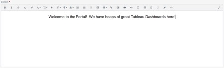 create content in Tableau portal homepage