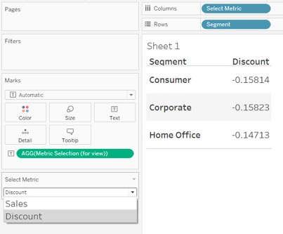 select metric for Tableau report