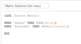 edit calculation for metric selection in Tableau