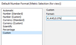 change default format on metric selection calculation