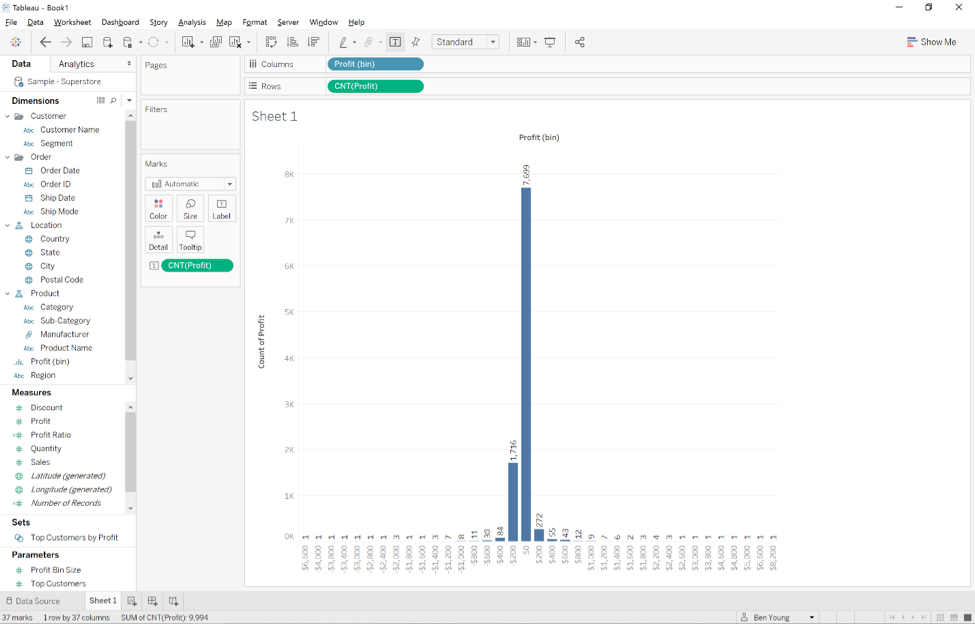 Creating Bins and Histograms in Tableau