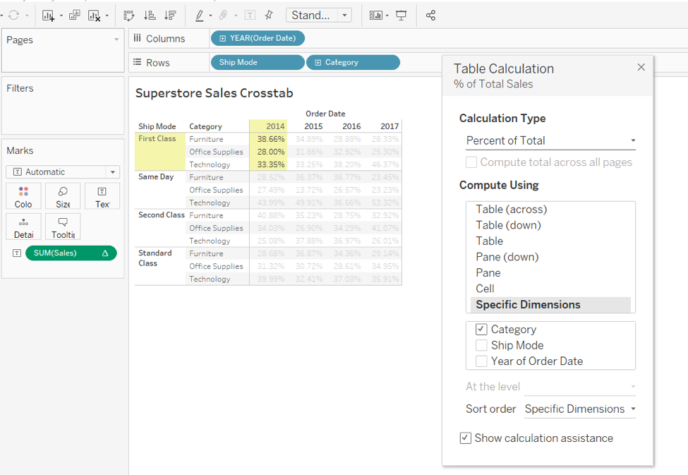 Tableau dimensions in table calculations