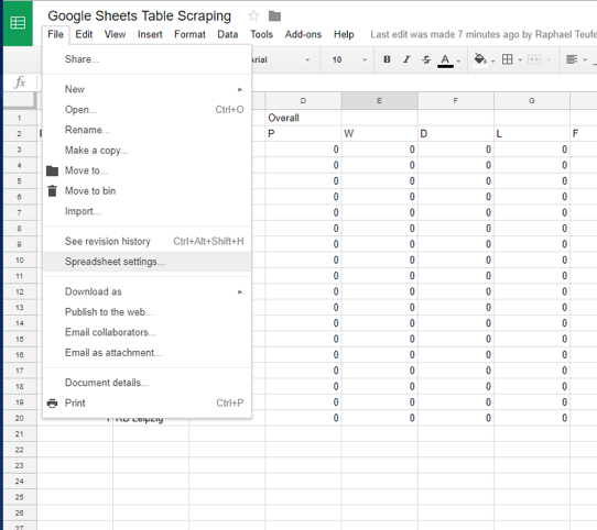Scraping tables with Google sheets and Tableau