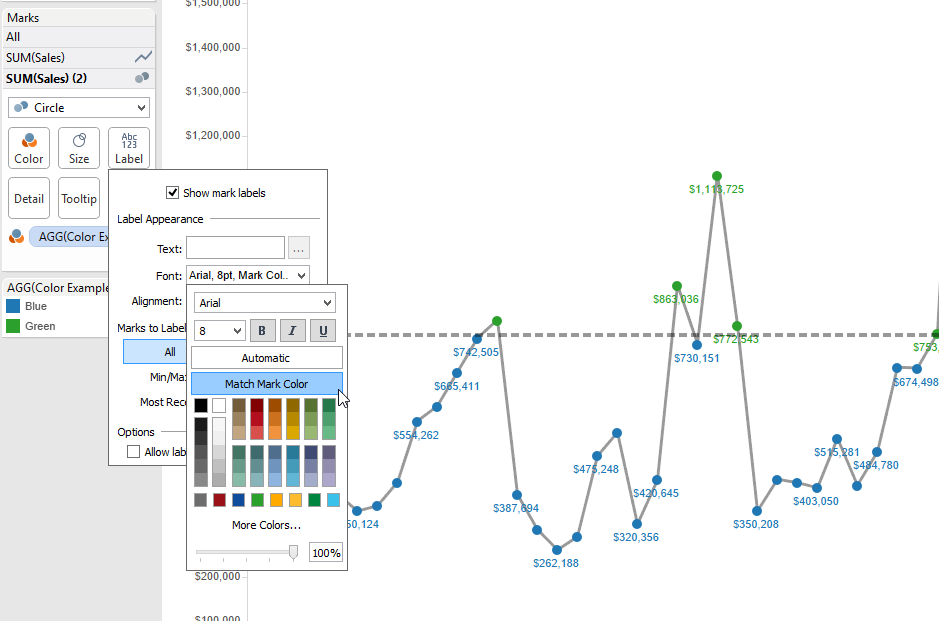 Match Mark Color in Tableau
