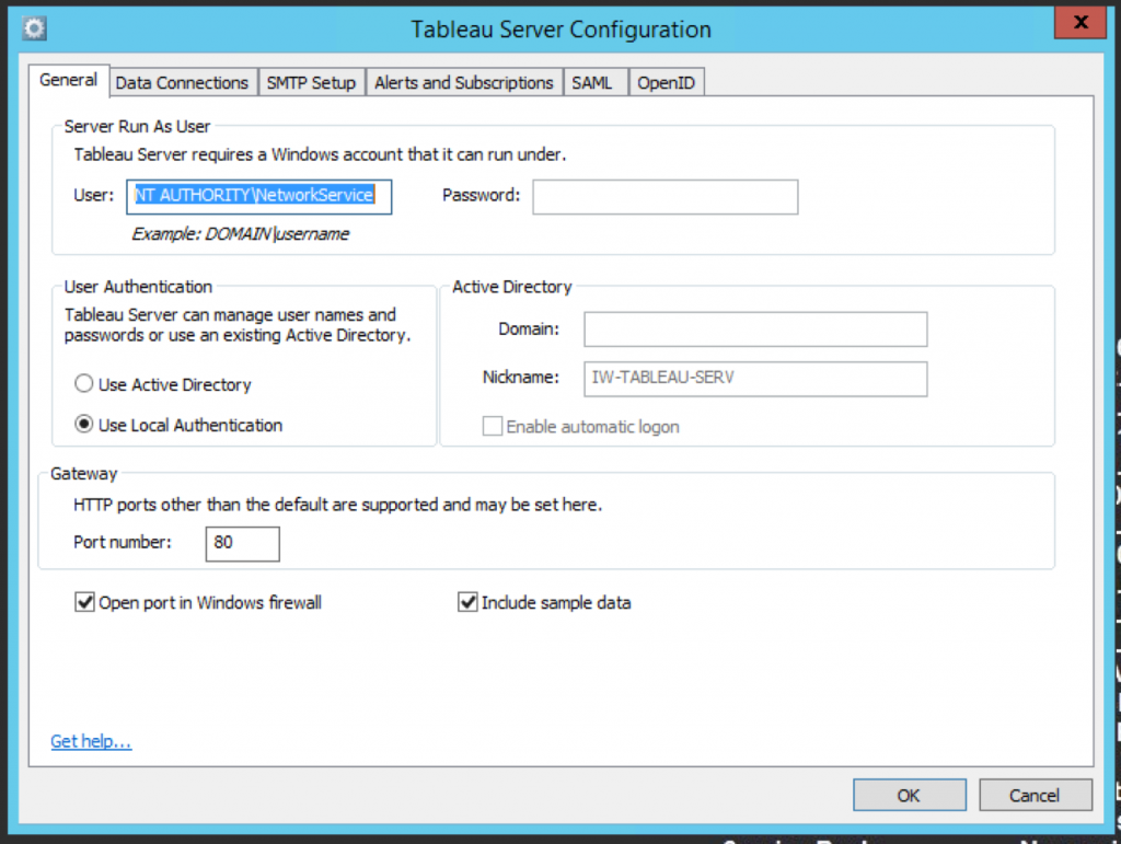 Configuring Tableau Server