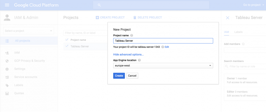 Creating a Project on Google Cloud