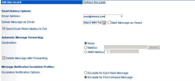 Escalation Profiles and Other Mailbox Options