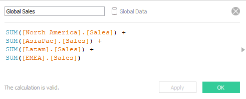 Tableau: Global Sales Calc