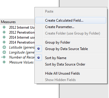 Tableau: Create Calculated Field