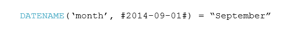 "DATENAME('month', #2014-09-01#) = ""September"""