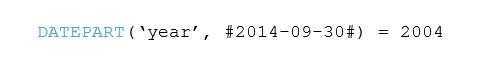 DATEPART('year', #2014-09-30#) = 2004