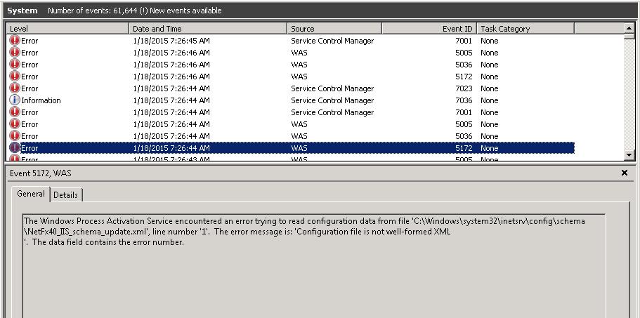 Windows error 7001
