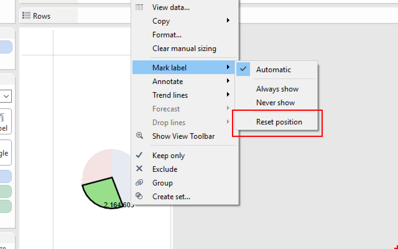 Tableau menu to Mark label menu to Reset position