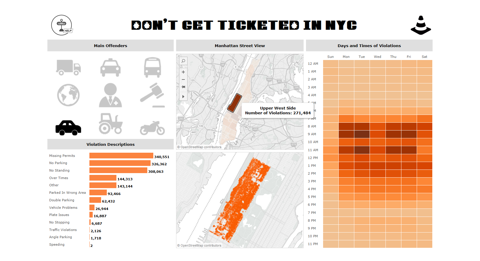 Tableau Viz: NYC Parking Violations Upper West Side