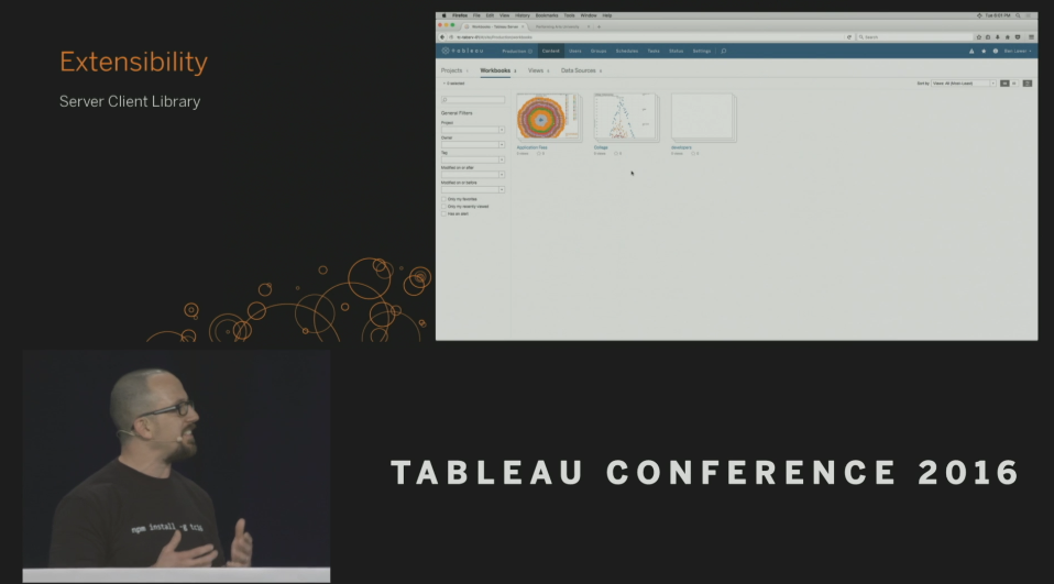 Tableau Conference 2016 - Devs on Stage - Server Client Library