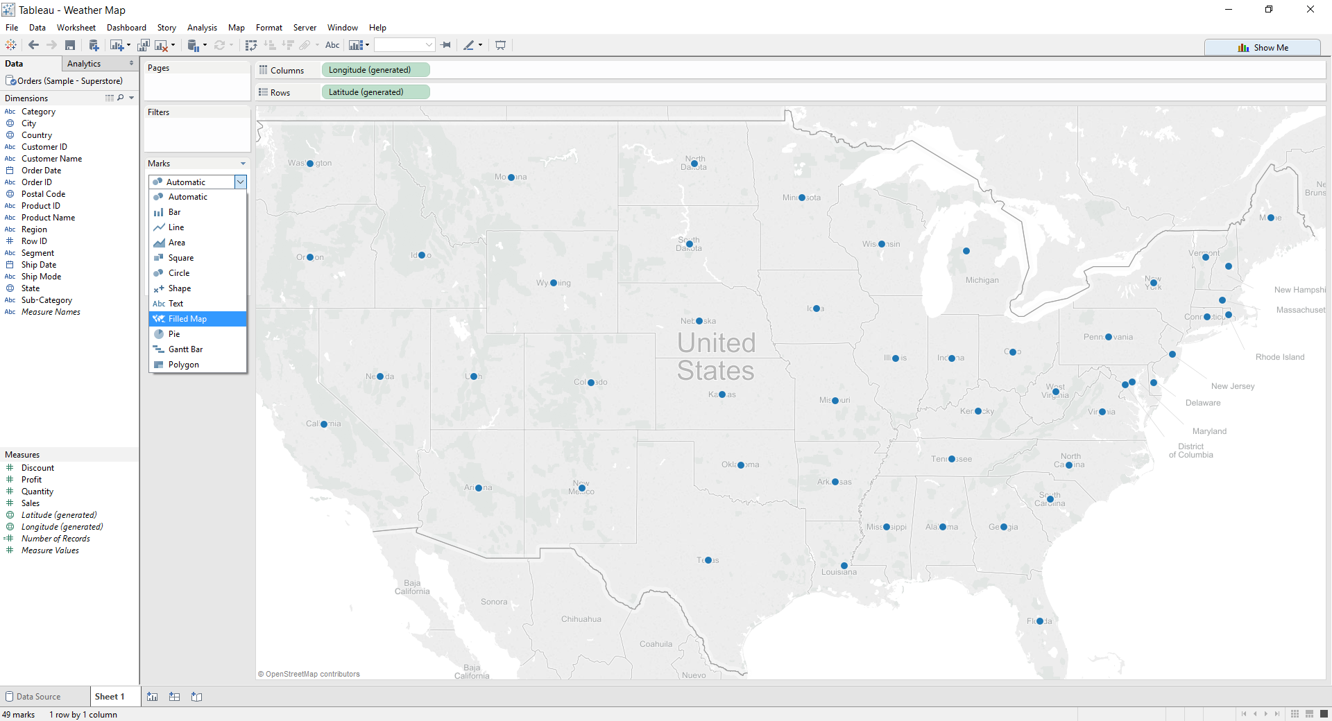 Tableau: Change to Filled Map