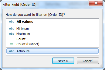 ATTR(Order ID) to Filters