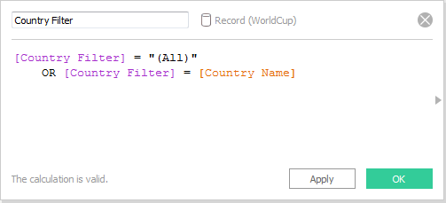 Change Country Filter calculation