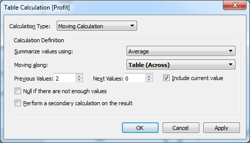 Tableau Table Calculation window