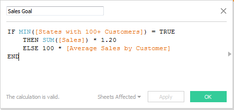 Sales Goal Calculated Field
