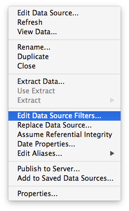 Edit Data Source Filters