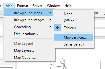Tableau: Map to Background Maps to Map Services…