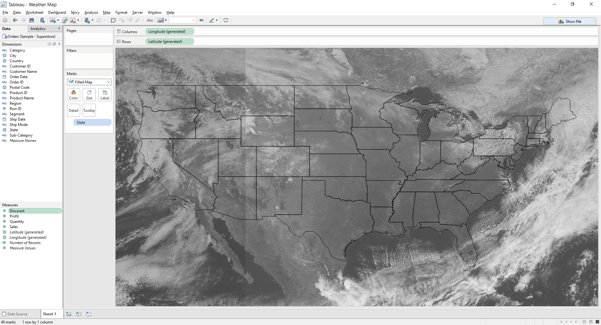 Tableau : Cloud Cover Map