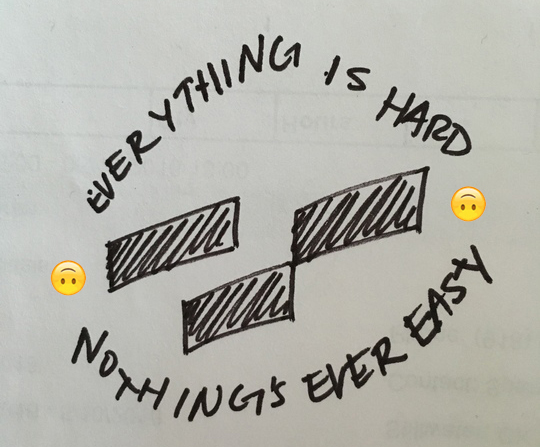 Everything is hard. Nothing is ever easy.