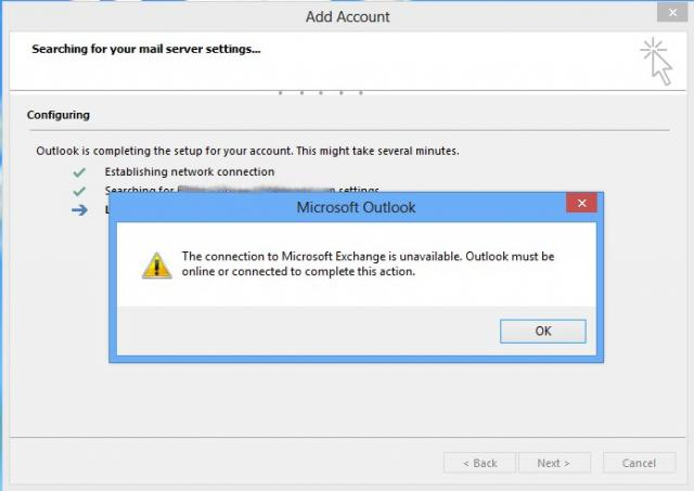 Microsoft Outlook - Exchange is unavailable, Outlook must be