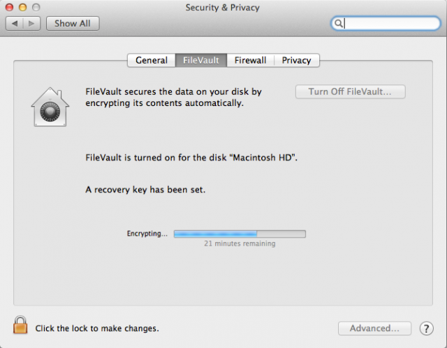 FileVault Progress