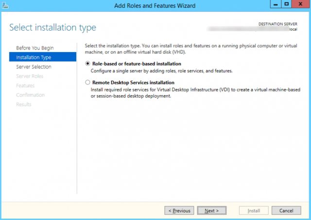 Add Roles and Features Wizard - Default Settings