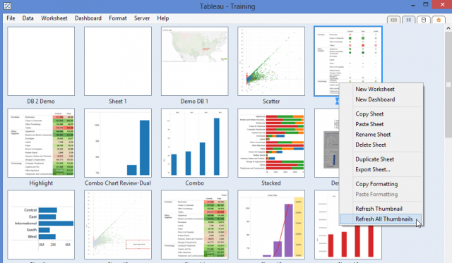 Tableau Workbook Interface