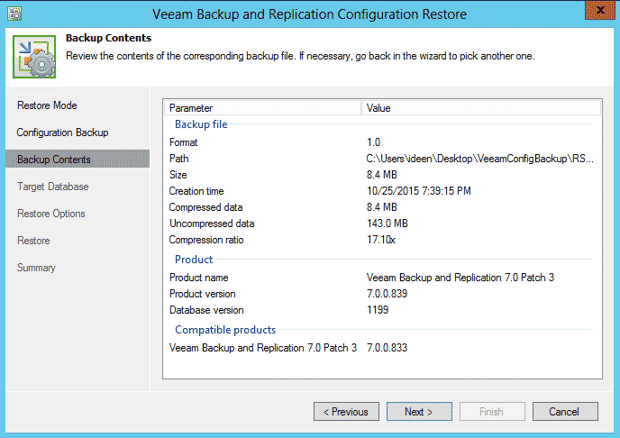 Performing a Database Restore with Veeam Configuration