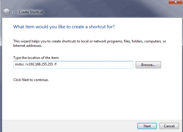 MSTSC Commands and Creating a Custom Remote Desktop Shortcut