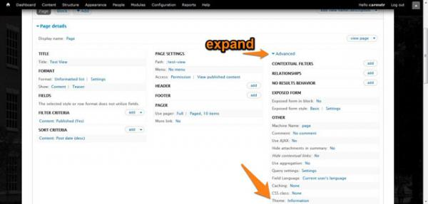Expand Advanced column and click on