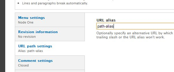 Screenshot of setting the path alias